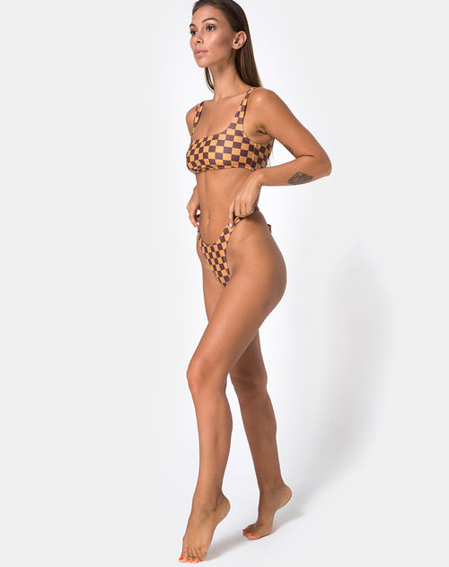 Farida Bikini Bottom in Mocha Checker by Motel