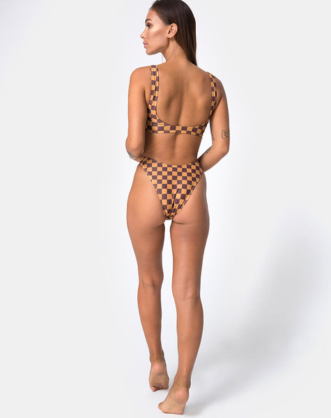 Farida Bikini Top in Mocha Checker by Motel