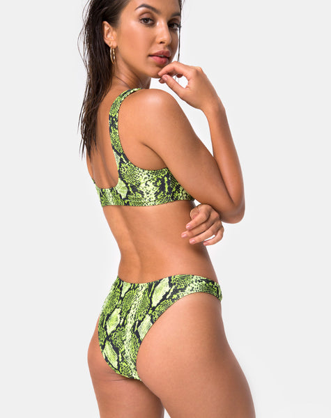 Farida Bikini Top in Slime Lime Snake by Motel