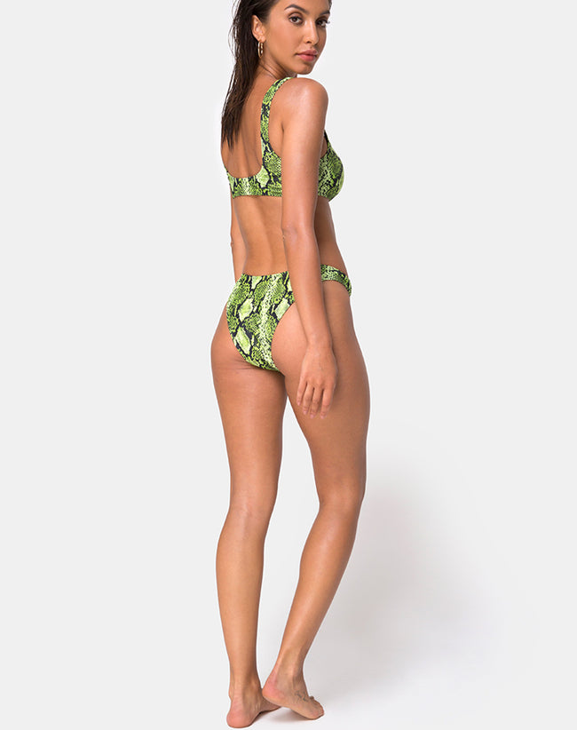 Farida Bikini Bottom in Slime Lime Snake by Motel