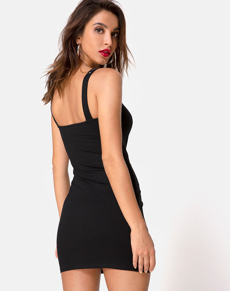 Farlie Bodycon Buckle Dress in Black by Motel