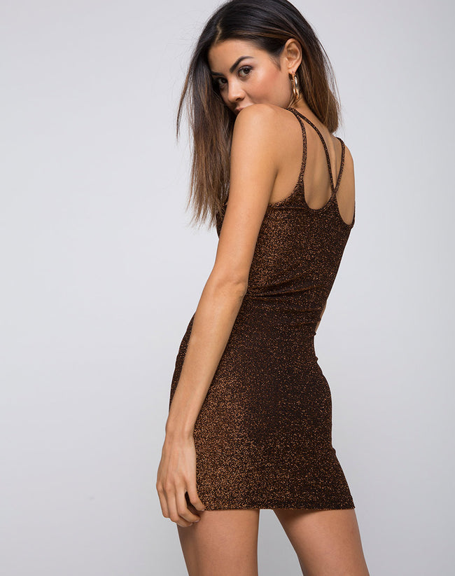 Felice Bodycon Dress in Glitter Lurex Bronze by Motel