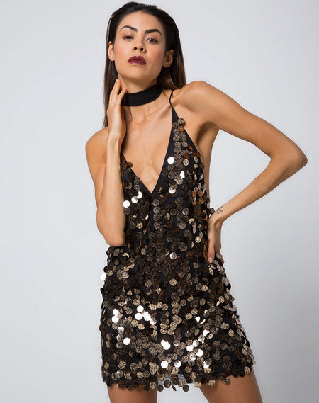 Purpura Slip Dress in Animal Sequin Tiger by Motel