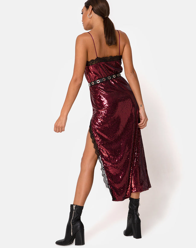 Fitilia Dress in Burgundy Mini Sequin with Black Lace by Motel