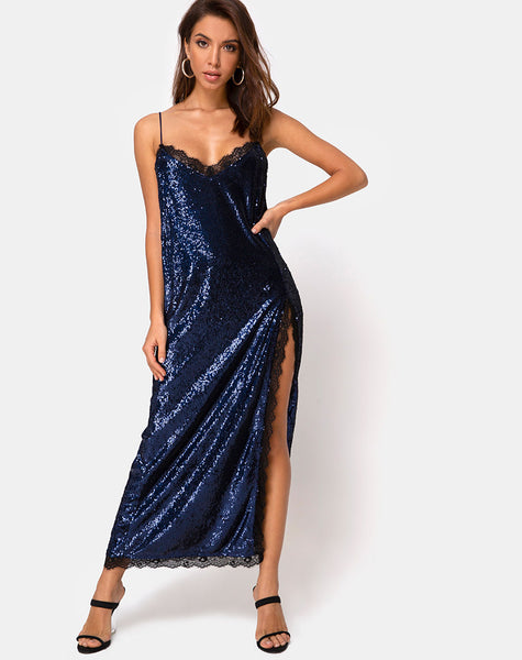 Fitilia Maxi Dress in Midnight Mini Sequin with Black Lace by Motel
