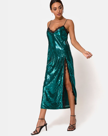 Bonita Maxi Dress in Satin Forest Green by Motel