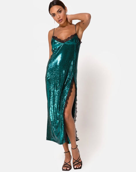 Fitilia Dress in Teal Mini Sequin with Black Lace