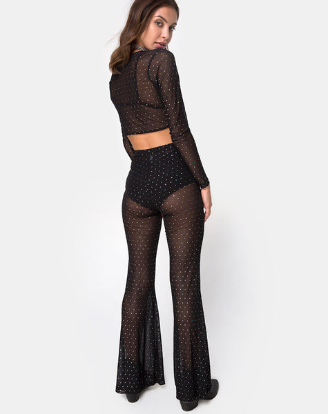 Herlom Flare Trouser in Net Crystal Black by Motel X Princess Polly
