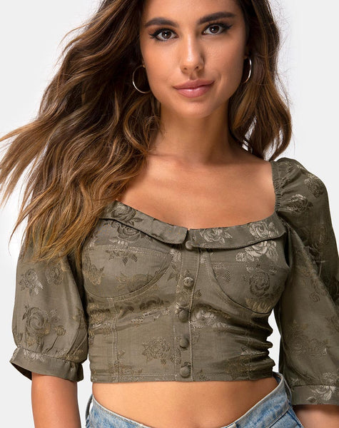 Flory Crop Top in Satin Rose Silver Grey by Motel