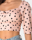 Flory Crop Top in New Polka Nude by Motel