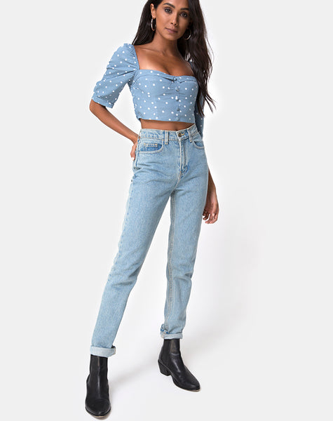 Flory Crop Top in Skater Polka Blue by Motel