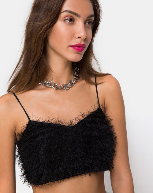 Balien Crop Top in Fringe Black by Motel