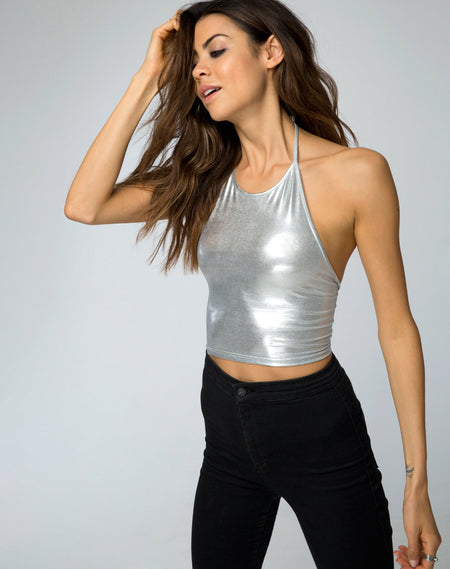 Fonda Crop Top in Metallic Petrol by Motel