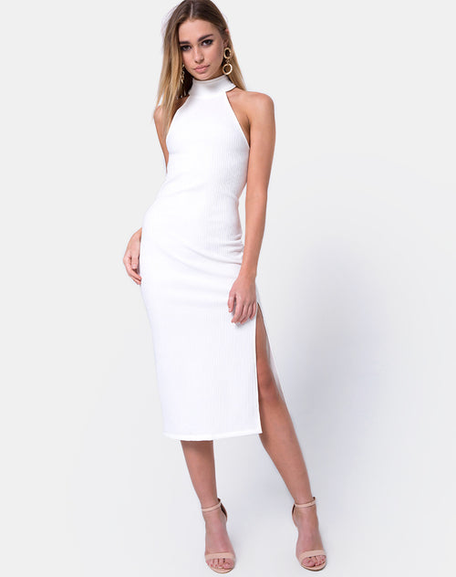 Freja Bodycon Dress in Multi Rib Ivory by Motel