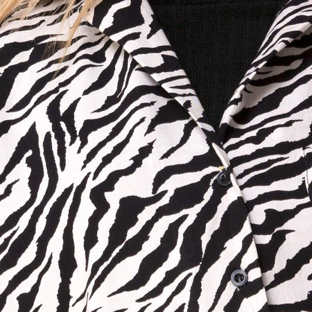 Fresia Mini Dress in 90's Zebra Black and White