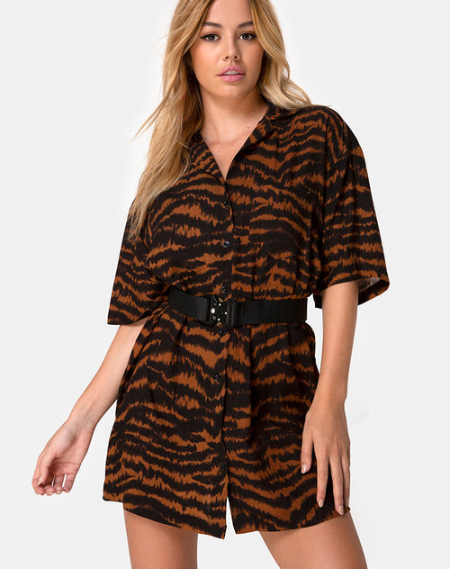 Fresia Dress in Animal Drip Brown by Motel