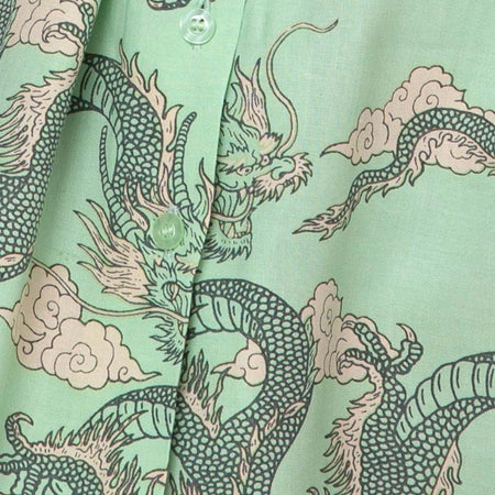 Fresia Dress in Chinese Dragon Neo Mint