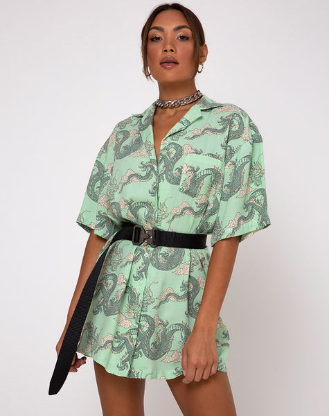 Fresia Dress in Chinese Dragon Neo Mint by Motel