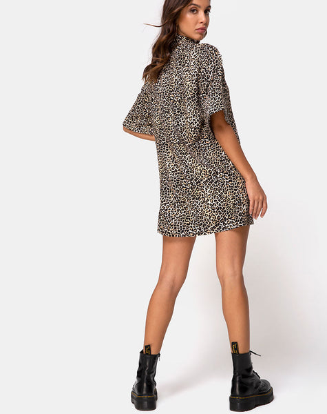 Fresia Mini Dress in Brown Rar Leopard by Motel