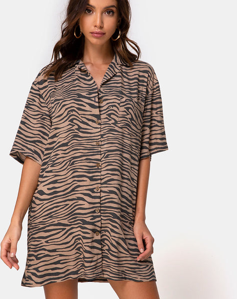 Fresia Mini Dress in Taupe Zebra by Motel