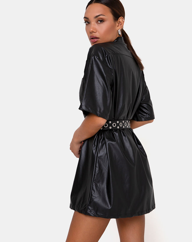 Fresia Mini Dress in PU Black by Motel