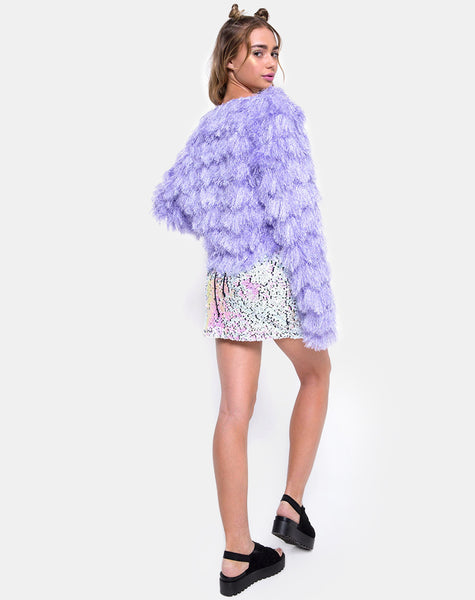 Fur Ball Jacket in Faux Fur Lilac by Motel