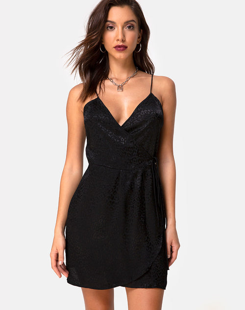 Furiosa Wrap Dress in Satin Cheetah Black by Motel