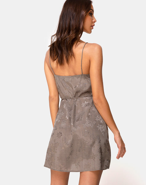 Furiosa Wrap Dress in Satin Rose Silver Grey