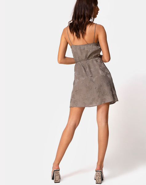 Furiosa Wrap Dress in Satin Rose Silver Grey by Motel