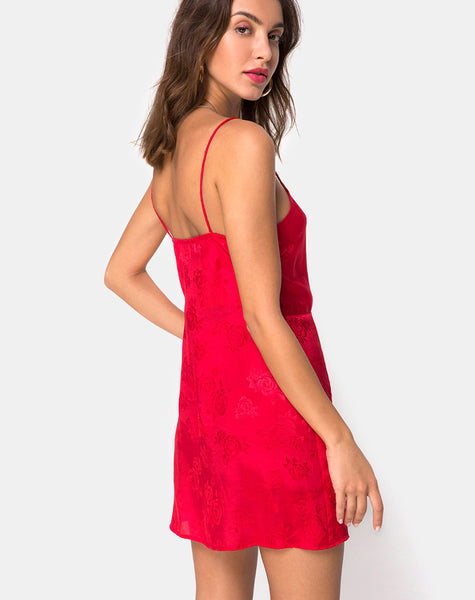 Furiosa Wrap Dress in Satin Rose Red by Motel