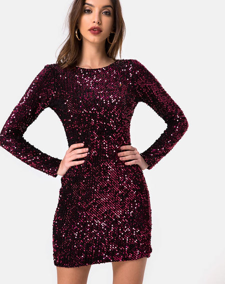 Melana Plunge Neck Bodycon Dress in Velvet Laser Pink Sequin by Motel