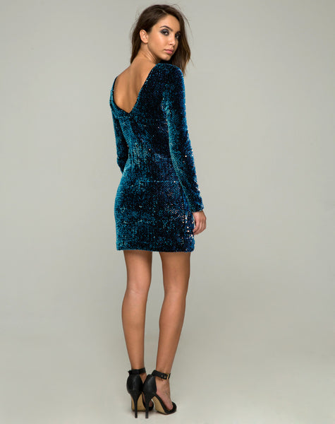 78e3859b ... Gabby Plunge Back Dress in Iridescent Opal Shine Sequin by Motel ...