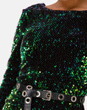 MOTEL DELUXE Gabby Sequin Plunge Back Dress in Iridescent Green