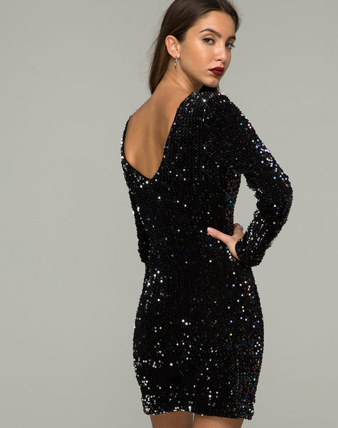 Gabby Dress in Oil Iridescent Sequin by Motel