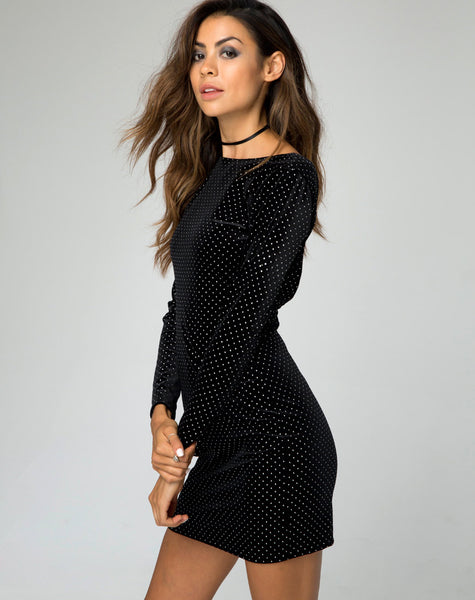Gabby Plunge Back Dress in Pinhead Black Velvet by Motel