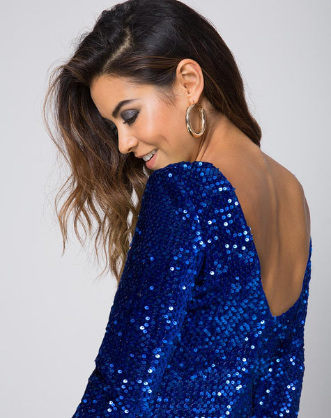 Gabby Plunge Back in Sequin Cobalt by Motel