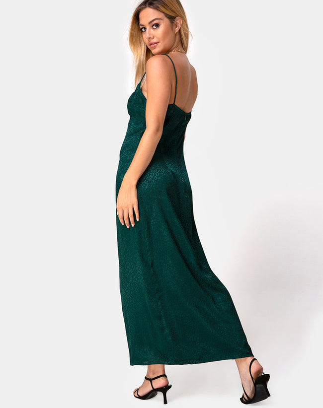 Gaela Slip Dress in Satin Cheetah Forest Green by Motel