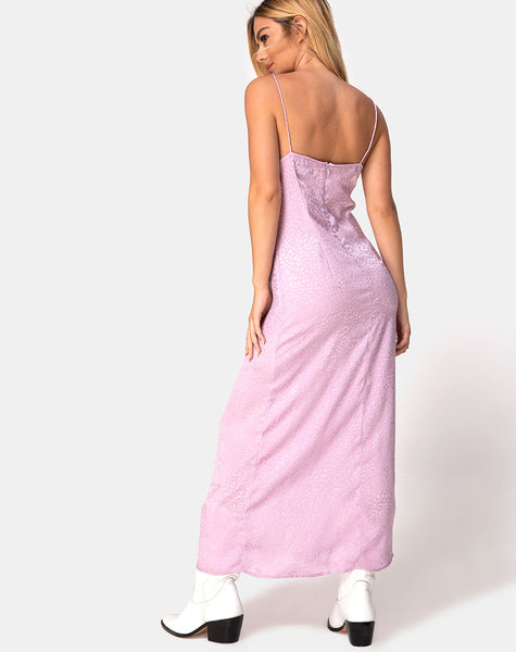 Gaela Slip Dress in Satin Cheetah Dusky Lilac by Motel