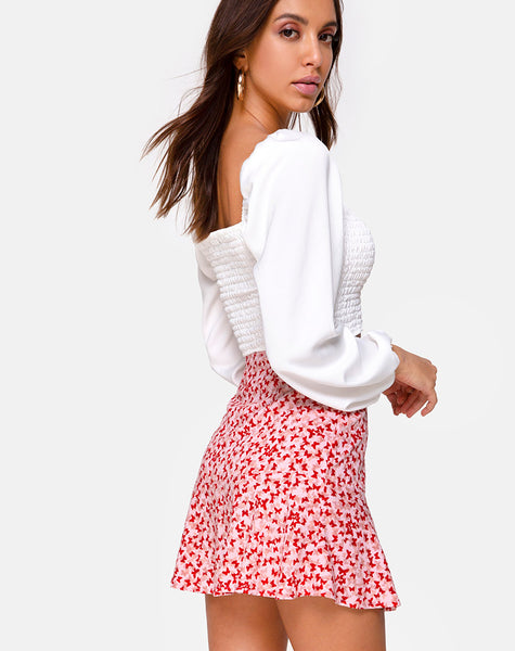 Gaelle Mini Skirt in Ditsy Butterfly Peach and Red