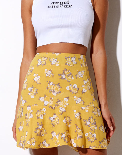 Gaelle Skater Skirt in Rose Bunch Yellow