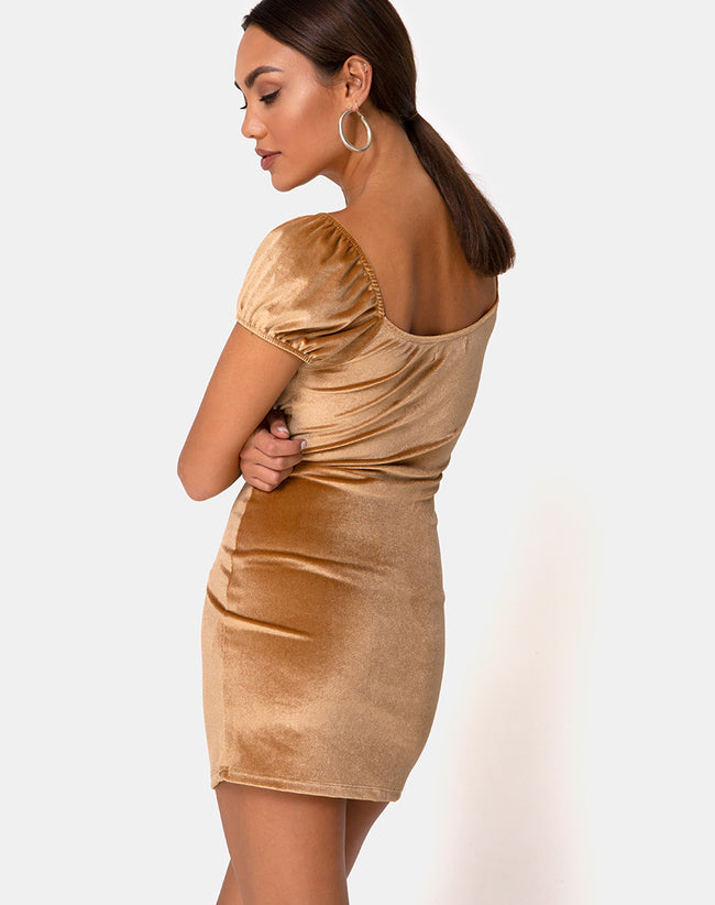 Gala Mini Dress in Velvet Gold by Motel