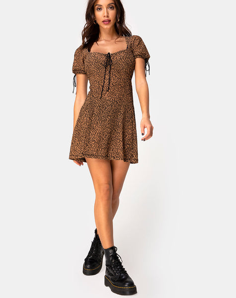Guenette Dress in Animal Flock Tan Net by Motel