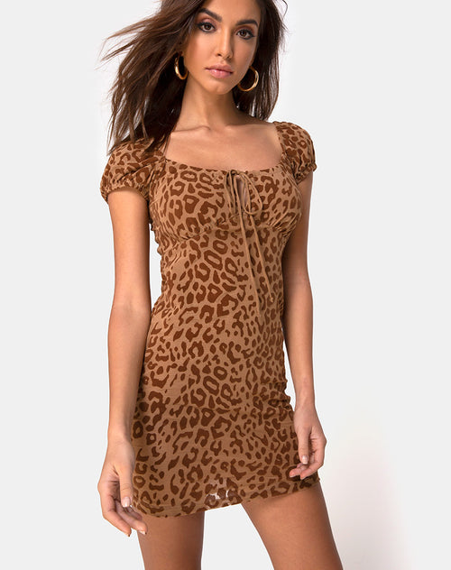 Gala Dress in Animal Flock Tan Brown by Motel