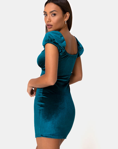Gala Bodycon Dress in Velvet Teal by Motel
