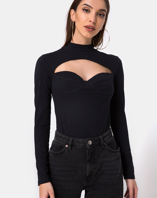 Galantis Cutout Bodice in Black by Motel