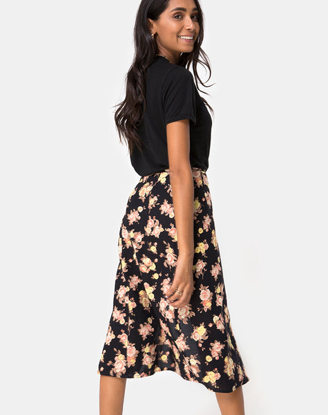 Gamaris Midi Skirt in Antique Rose Black by Motel