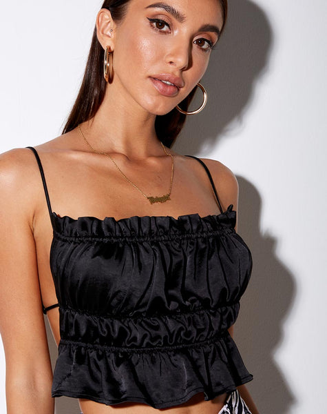 Gamera Cami Top in Heavy Satin Black