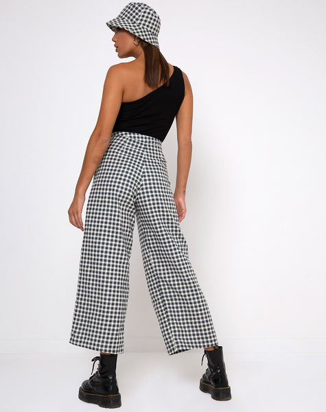 Gamila Culotte Trouser in Gingham Cream by Motel