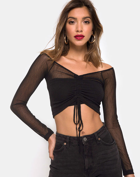 Kingsley Crop Top in Disc Sequin Fire by Motel