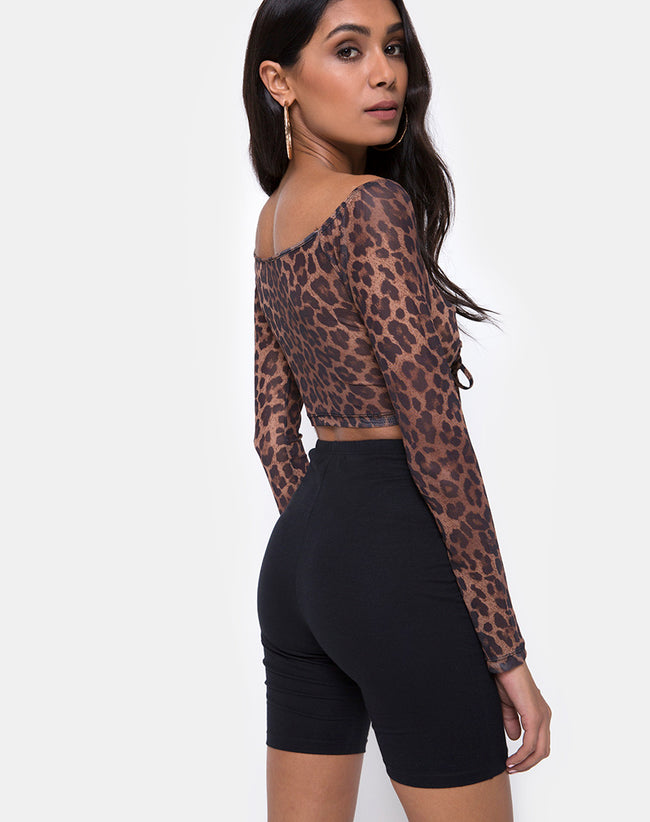 Ganida Top in Leopard Mesh by Motel